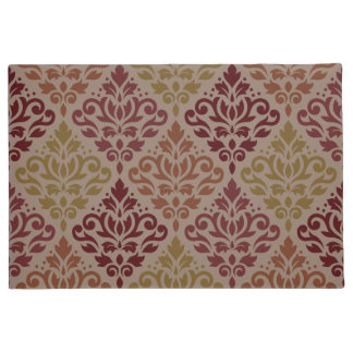 Scroll Damask Big Ptn Reds Orange Gold Taupe Doormat