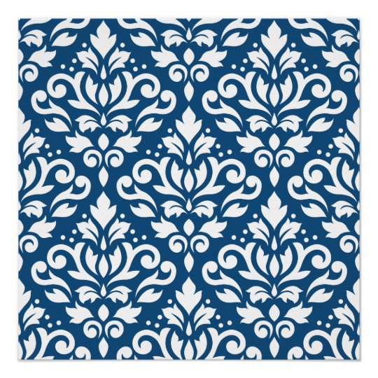 Scroll Damask Big Ptn White on Dk Blue Poster