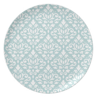 Scroll Damask Big Ptn White on Duck Egg Blue (B) Plate