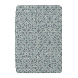 Scroll Damask Big v Ptn (outline) Crm Blue Teal iPad Mini Cover