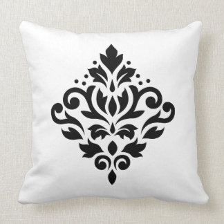 Scroll Damask Design Black Throw Pillow