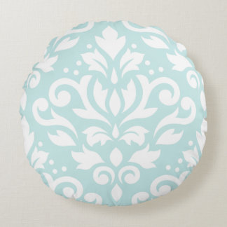Scroll Damask Design White on Duck Egg Blue Round Pillow