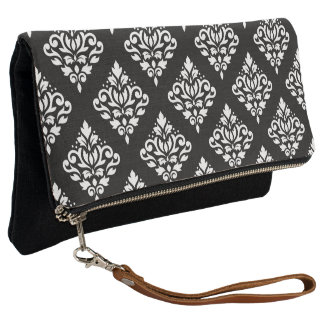 Scroll Damask II Ptn White on Black Clutch