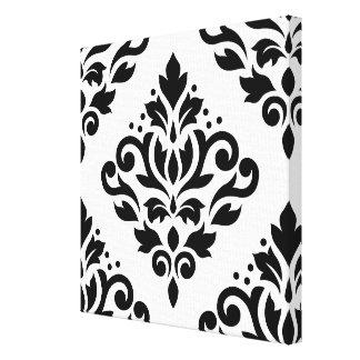 Scroll Damask Large Design (B) Black on White Canvas Prints