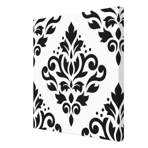 Scroll Damask Large Design (B) Black on White Canvas Print