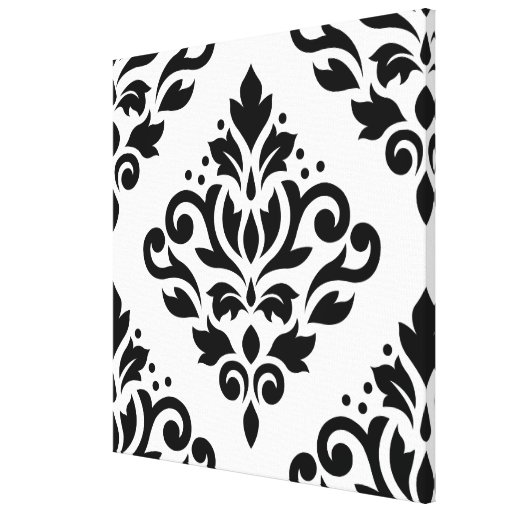 Scroll Damask Large Design (B) Black on White Stretched Canvas Print