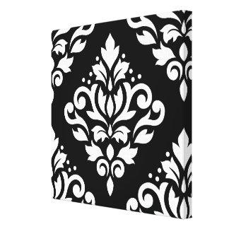 Scroll Damask Large Design (B) White on Black Stretched Canvas Prints