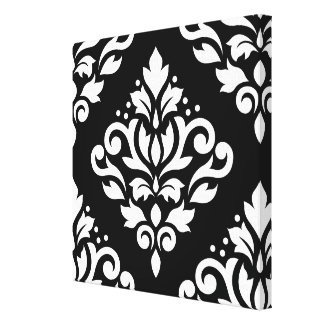Scroll Damask Large Design (B) White on Black Gallery Wrapped Canvas