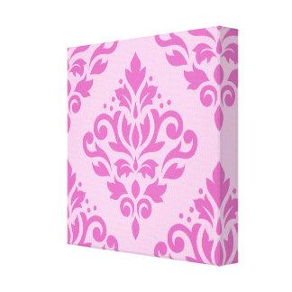 Scroll Damask Large Design Dk on Lt Pink Stretched Canvas Prints