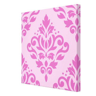 Scroll Damask Large Design Dk on Lt Pink Gallery Wrapped Canvas