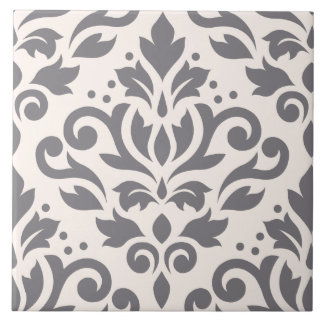 Scroll Damask Large Design Grey on Cream Tile