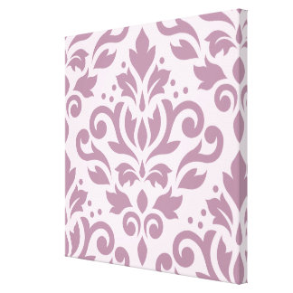 Scroll Damask Large Design Mauve on Pink Gallery Wrap Canvas