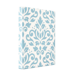 Scroll Damask Large Pattern Blue on Cream Stretched Canvas Print