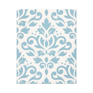 Scroll Damask Large Pattern Blue on Cream Canvas Print