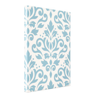 Scroll Damask Large Pattern Blue on Cream Gallery Wrap Canvas