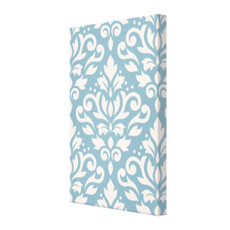 Scroll Damask Large Pattern Cream on Blue Gallery Wrapped Canvas