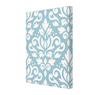 Scroll Damask Large Pattern Cream on Blue Canvas Prints