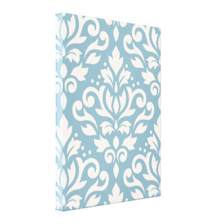 Scroll Damask Large Pattern Cream on Blue Stretched Canvas Prints