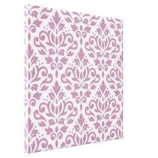 Scroll Damask Large Pattern Mauve on Pink Canvas Print