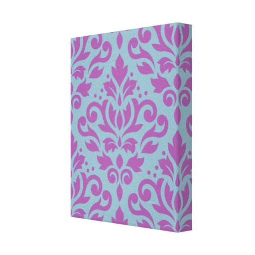 Scroll Damask Large Pattern Plum on Blue Gallery Wrap Canvas