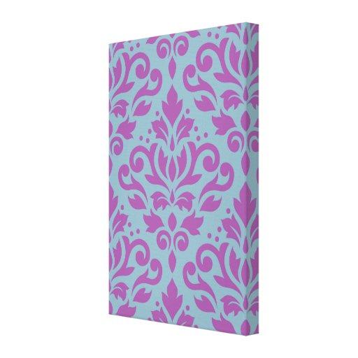 Scroll Damask Large Pattern Plum on Blue Canvas Print