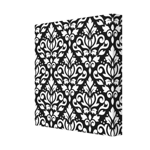 Scroll Damask Large Pattern White on Black Gallery Wrap Canvas