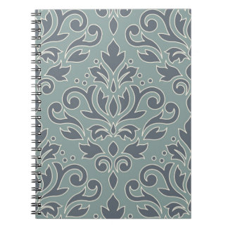 Scroll Damask Lg Design (outline) Cream Blue Teal Spiral Notebook