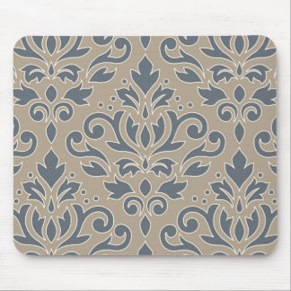 Scroll Damask Lg Pattern Cream Line Blue Sand Mouse Pad