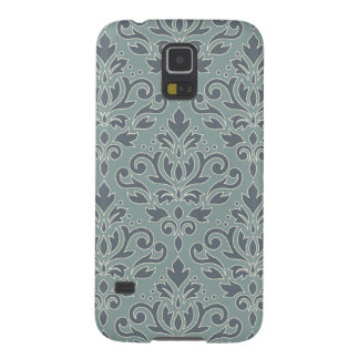 Scroll Damask Lg Pattern (outline) Cream Blue Teal Case For Galaxy S5