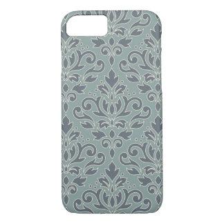 Scroll Damask Lg Pattern (outline) Cream Blue Teal Case-Mate iPhone Case