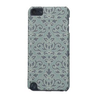 Scroll Damask Lg Pattern (outline) Cream Blue Teal iPod Touch (5th Generation) Cover