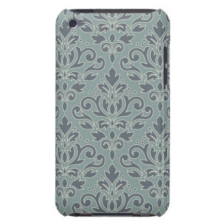Scroll Damask Lg Pattern (outline) Cream Blue Teal iPod Touch Case