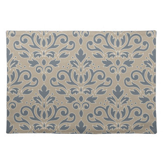 Scroll Damask Lg Pattern (outline) Cream Blue Teal Placemat