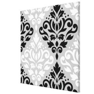 Scroll Damask Lg Ptn Art B&W on Gray Canvas Print
