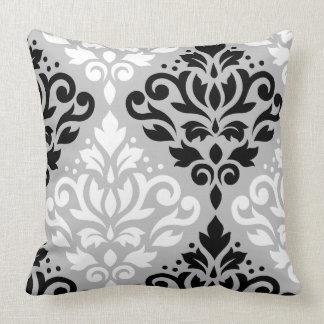 Scroll Damask Lg Ptn Art B&W on Gray Throw Pillow