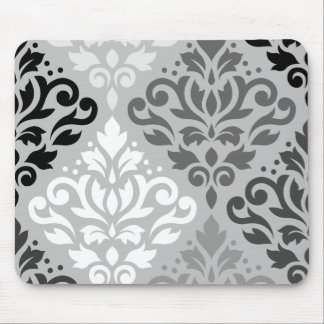 Scroll Damask Lg Ptn Art BW & Grays Mouse Pad