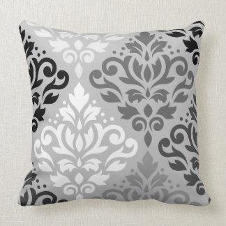 Scroll Damask Lg Ptn Art BW & Grays Throw Pillow
