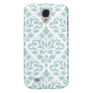 Scroll Damask Lg Ptn Duck Egg Blue (B) on White