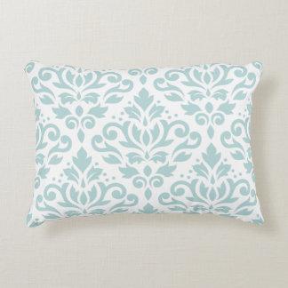 Scroll Damask Lg Ptn Duck Egg Blue (B) on White Accent Pillow