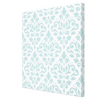 Scroll Damask Lg Ptn Duck Egg Blue (B) on White Canvas Print