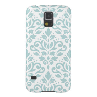 Scroll Damask Lg Ptn Duck Egg Blue (B) on White Cases For Galaxy S5