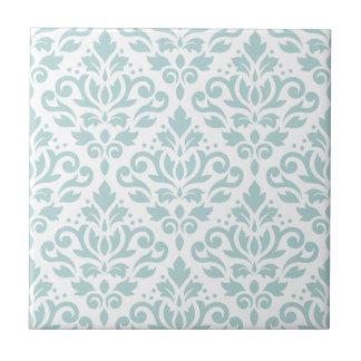 Scroll Damask Lg Ptn Duck Egg Blue (B) on White Ceramic Tile