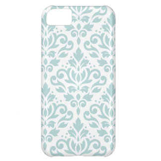 Scroll Damask Lg Ptn Duck Egg Blue (B) on White iPhone 5C Covers
