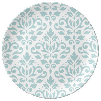 Scroll Damask Lg Ptn Duck Egg Blue (B) on White Plate