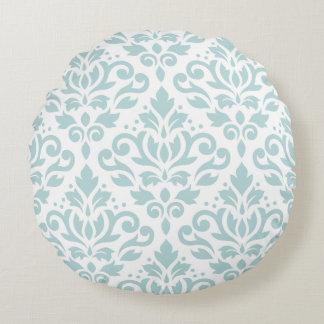Scroll Damask Lg Ptn Duck Egg Blue (B) on White Round Pillow