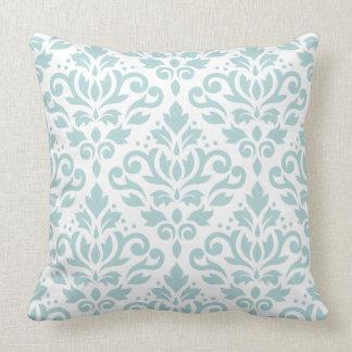 Scroll Damask Lg Ptn Duck Egg Blue (B) on White Throw Pillow