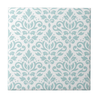 Scroll Damask Lg Ptn Duck Egg Blue (B) on White Tile