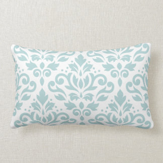 Scroll Damask Lg Ptn Duck Egg Blue (B) on Wt Lumbar Pillow