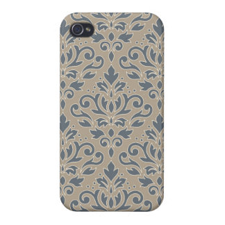 Scroll Damask Lg Ptn (outline) Cream Blues Sand iPhone 4 Covers