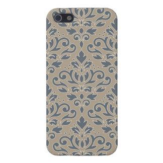 Scroll Damask Lg Ptn (outline) Cream Blues Sand iPhone 5/5S Case
